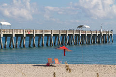 Ocean Pier and Beach Stock Photography