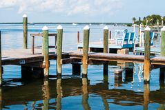 Ocean and Pier in Key Largo. Florida Stock Images