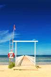 Ocean Pier with Lifebuoy Royalty Free Stock Images