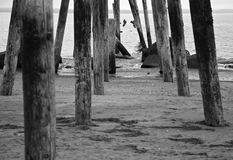 Ocean Pier Ruins BW Stock Photography