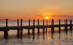 Ocean pier during sunset Royalty Free Stock Image
