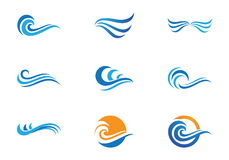 Ocean plaży fala logo ilustracji