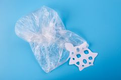 Ocean plastic pollution issue. Sea animals in plastic bag royalty free stock photos