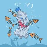 Ocean plastic pollution - vector illustration . template. vector. editable. royalty free illustration
