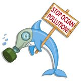 Ocean pollution concept. Dolphin asks stop the pollution of the ocean. Vector graphics to design Royalty Free Stock Photography