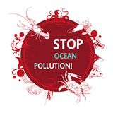 Ocean pollution concept. Stop the pollution of the ocean. Vector graphics to design Royalty Free Stock Photos