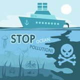 Ocean pollution concept. Stop the pollution of the ocean. Vector graphics to design Stock Images