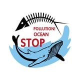 Ocean pollution concept. Stop the pollution of the ocean. Vector graphics to design Royalty Free Stock Photography