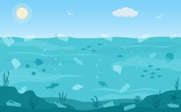 Ocean pollution, plastic bottles and trash  in water. Ecology problems concept. vector illustration