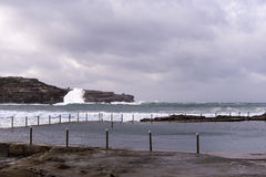 Ocean Pool Waves breaking Winter storm Royalty Free Stock Photos