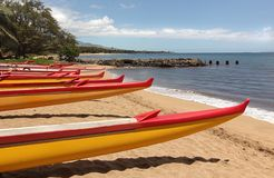 Ocean racing kayaks. On a beach in Maui, Hawaii Stock Photo