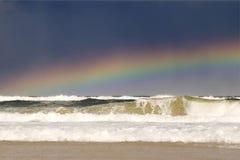 Ocean rainbow. Ocean scene with rainbow at the beach of Fraser Island, Queensland, Australia Stock Photo