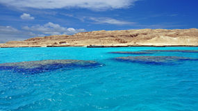 Ocean and reef. Blue ocean and turqousie reef in the red sea Royalty Free Stock Photos