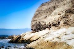 Ocean rock cliff. Sea coast huge rock cliff along Pacific Ocean in Central coast California royalty free stock photography
