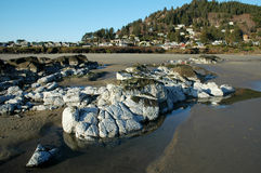 Ocean Rocks. Below a seaside town stock images