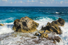 Ocean Rocks. On the south end of Isla Mujeres, Mexico Stock Photos