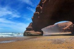 Ocean. Rocks. Beach. Morocco. Royalty Free Stock Photo