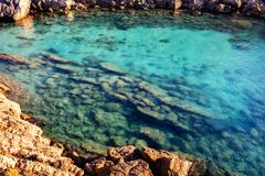 Ocean and rocks. Clear ocean water and rocks Stock Photo