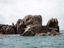 Ocean and rocks. Seychelles, somewhere in the Indian Ocean royalty free stock photos