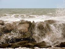 Ocean Rocks. Ocean with waves hitting rocks royalty free stock photo