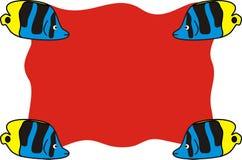Ocean ryba na Żółtym Czarnym Błękitnym Colour z Czerwonym tłem ilustracji