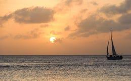 Ocean Sailboat at Sunset Royalty Free Stock Photography