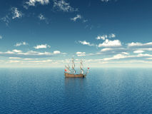 Ocean with Sailing Ship Stock Images