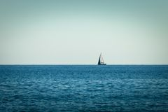 Sailing Ship yachts with sails in the open Sea stock photography