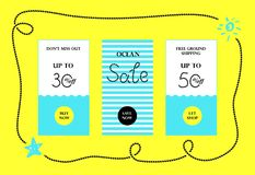 Ocean Sale Web Banners Set Royalty Free Stock Image