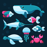 Ocean, salt sea fishes vector set Royalty Free Stock Photo