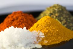 Ocean salt and spices Stock Photography
