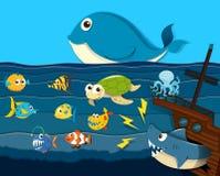 Ocean scena z dennymi zwierzętami Zdjęcie Stock