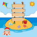 Ocean scene with boy swimming Stock Photo