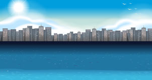 Ocean scene with buildings in background Stock Images