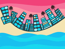 Ocean scene with city. City with lake, river or ocean. Cityscape with ocean. Buildings and beach. Vector Stock Images