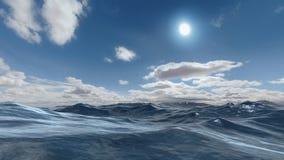 Ocean scene. 3D rendered enviroment scene of ocean at sunset with sun on the sky Stock Photo
