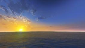 Ocean scene. 3D rendered enviroment scene of ocean at sunset with sun on the sky Stock Image