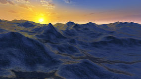 Ocean scene. 3D rendered enviroment scene of ocean at sunset with sun on the sky Royalty Free Stock Image