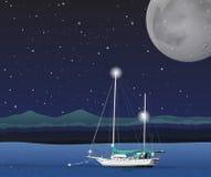 Ocean scene on fullmoon night Stock Images
