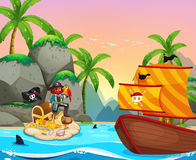 Ocean scene with pirate and treassure Stock Photos