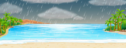 Ocean scene with rainstorm Royalty Free Stock Photography