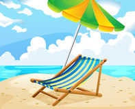 Ocean scene with seat and umbrella on the beach Royalty Free Stock Photos