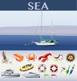 Ocean scene with ships and sea animals Royalty Free Stock Image