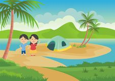 Ocean Scene With Two Children Royalty Free Stock Photos