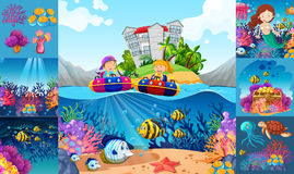 Ocean scenes with children and sea animals. Illustration Stock Images
