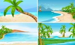 Ocean scenes with coconut trees and island. Illustration Stock Photography