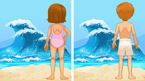 Ocean scenes with girl and boy looking at waves. Illustration Royalty Free Stock Photography