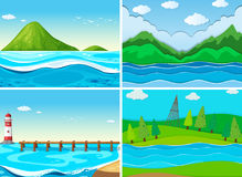 Ocean scenes with green hills. Illustration Stock Photo