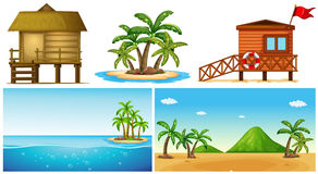 Ocean scenes with island and lifeguard house Royalty Free Stock Image