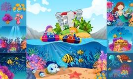 Ocean sceny z dziećmi i dennymi zwierzętami Obrazy Stock